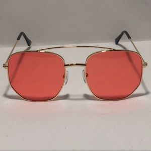 Other - Gold/Red Pilot Aviator Sunglasses